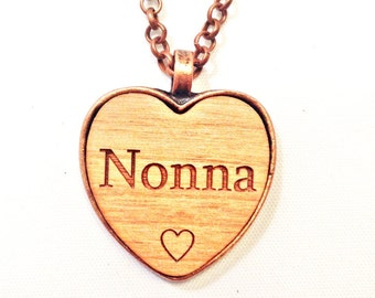 NONNA heart NeCKLaCE pendant NONNA's jewelry necklace NONNA keychain wood name handmade wooden engraved wooden personalized custom charm