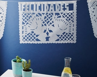Papel Picado. White Mexican Bunting For Weddings and Celebrations - Handcut Paper Bunting - Congratulations!