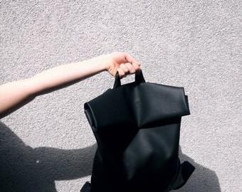 BLACK ON BLACK /faux leather