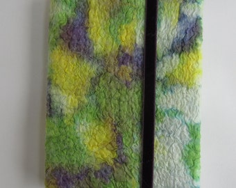 A6 silk nuno felted, removable, green, yellow and purple book cover supplied complete with hard-backed,lined A5 notebook