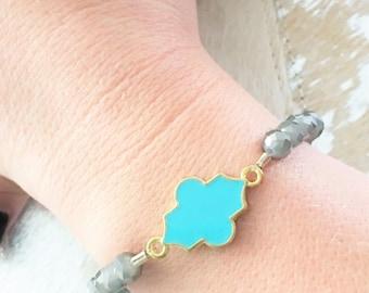 Turquoise Marrakesh Stretch Bracelet // Marrakesh Bracelet // Turquoise Bracelet // Quatrefoil Bracelet
