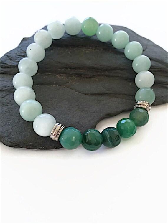 Artículos similares a Amazonita piedra preciosa pulsera verde ágata piedra preciosa piedra preciosa verde pulsera elástica piedra preciosa verde Unisex