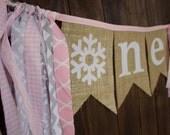 First Birthday One Onederland Wonderland Pink Gray Silver Burlap Bunting Banner Snowflake Ice Winter Party Highchair Decoration, Photo Prop