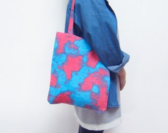Linen tote bag abstract red and blue eco-conscious hand painted