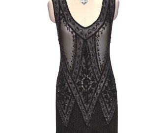 Black Crystal 1920's JAZZ BABY Beaded Flapper Gatsby Fringe ICON Gown by Deco Haus
