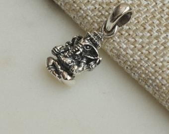 Small Silver Ganesh Pendant, Ganesh Charm, Baby Ganesh Pendant, Lord Ganesh Jewelry, Sterling Silver Ganesh Pendants, One, GS15-119