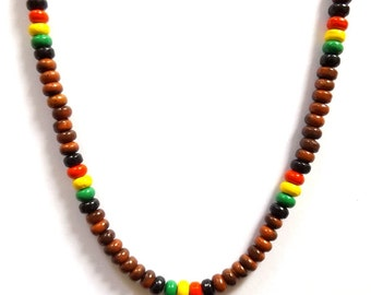 Brown rasta reggae Jamaican style surfer necklace, colourful beaded Bob Marley style.