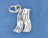 Bacon Charm .925 Sterling Silver Bacon Slices Pendant - f5471