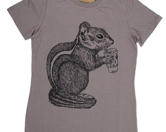 Womens Graphic Tee | Womens TShirt | Womens Animal Tees | Funny Tshirts | Chipmunk Tee | Ladies TShirts | Brown Coffee Drinking Chipmunk