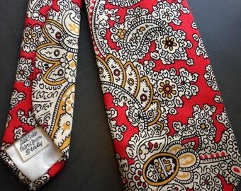 Vintage Red Paisley Italian Silk Tie
