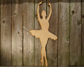 Ballerina wood cut sign/gift/cutout/laser/door/decor/unfinished/wood/laser