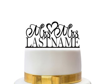 Custom wedding cake toppers mrs and mrs with name, for a gay wedding couple, other colors also possible, custom made