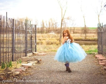 Williamsburg Blue Flower Girl Tutu Dress - Dusty Blue Flower Girl Dress - Blue Tutu Dress - Wedding Flower Girl Dress - MADE TO ORDER