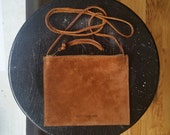 Flat Pouch Cross Body - Rust Suede & Henna Brown