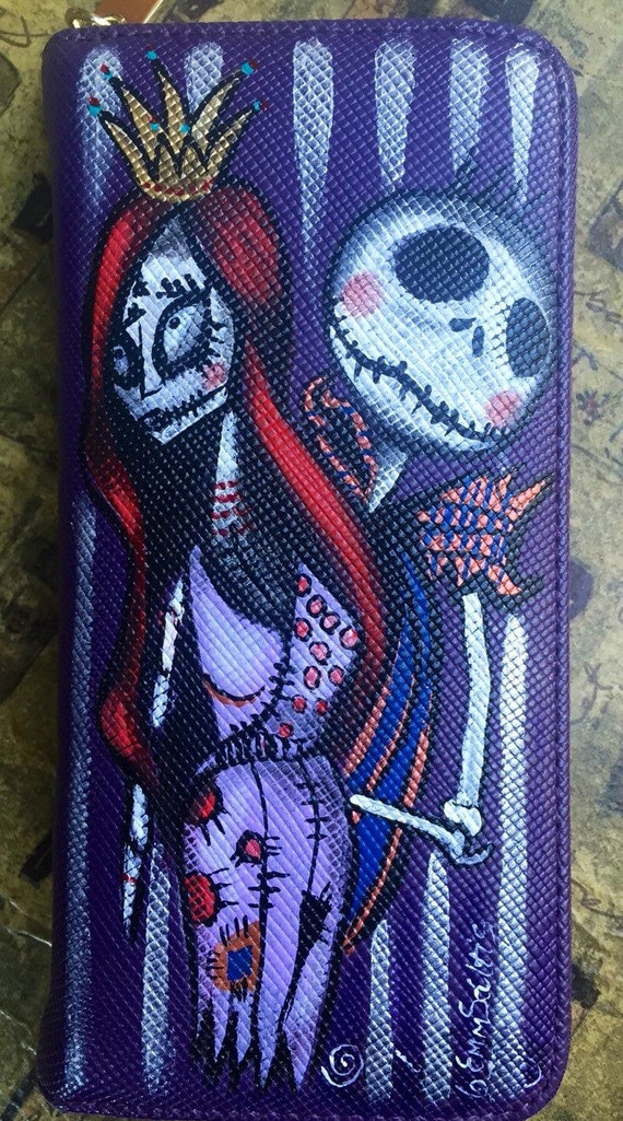women's wallet, hand painted cartoon characters Skull couple wallet