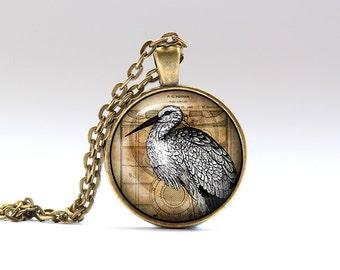 Stork jewelry Steampunk pendant Bird necklace SNW17