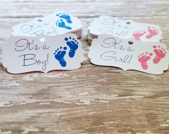 Gender reveal tags, Its a boy, its a girl, baby shower tag, baby feet, ornate tag, hospital gift tags, (047)