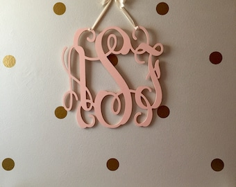 Unpainted Wooden Monogram - Three Letter Monogram - Vine Script Monogram - Monogram Wall Hanging - Monogram Door Hanger - Wooden Letters