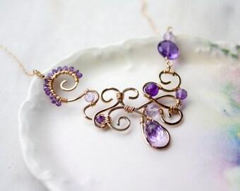 Purple Amethyst Asymmetrical Wire Wrapped Statement Necklace, Unique Purple Bib Necklace