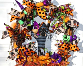 Halloween haunted house witch wreath