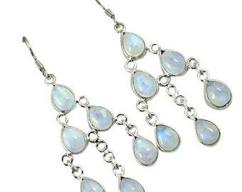 Rainbow Moonstone Chandelier Earrings, Moonstone Earrings, Chandelier Earrings, Bridal Earrings, Bridal Jewelry, Dangle Earrings,