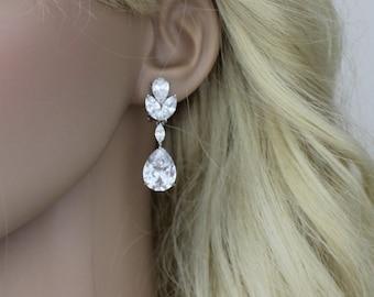 Crystal Bridal earrings, Teardrop Wedding earrings, Bridal jewelry, Cubic zirconia earrings, CZ earrings, Clip on earrings, Bridesmaid gift