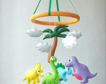 nursery mobile, Baby crib mobile, baby mobile, crib mobile, Dinosaur mobile, hanging mobile, baby shower gift, felt baby mobile, mobile