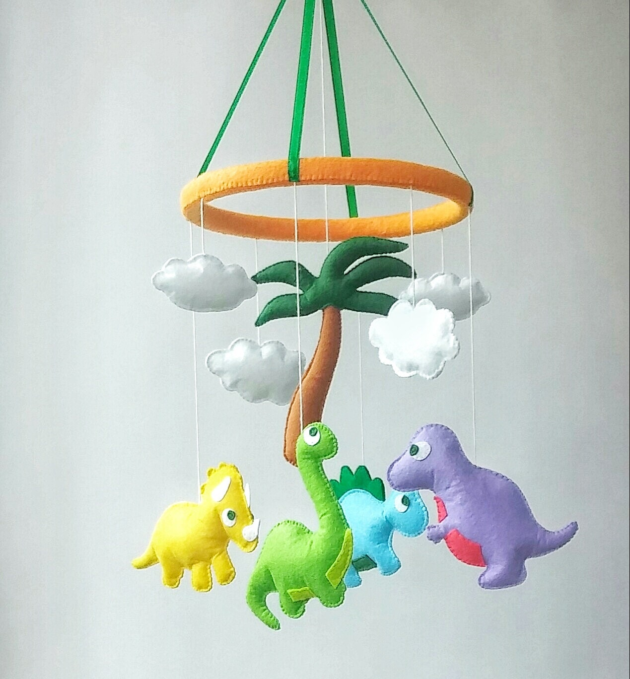 Dinosaur baby crib mobile nursery decor felt mobile hanging for Unusual baby mobiles