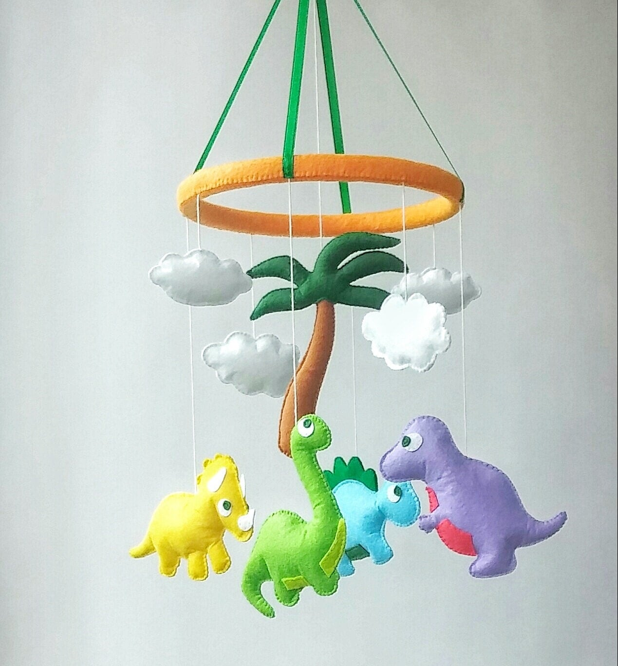dinosaur baby crib mobile nursery decor felt mobile hanging. Black Bedroom Furniture Sets. Home Design Ideas