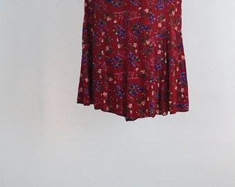90s Plus Size Red Floral Romper/ Jumpsuit/ Adult Onesie/ Playsuit, Size 2X / 3X