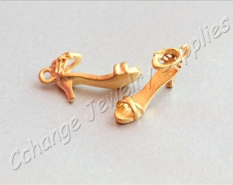 5 pcs Gold High Heel Charms, (29mm x 14mm) Gold High Heel Charms, 24k Matte Gold Plated High Heel Pendants, Metal Gold Shoe Charms / GPY-222