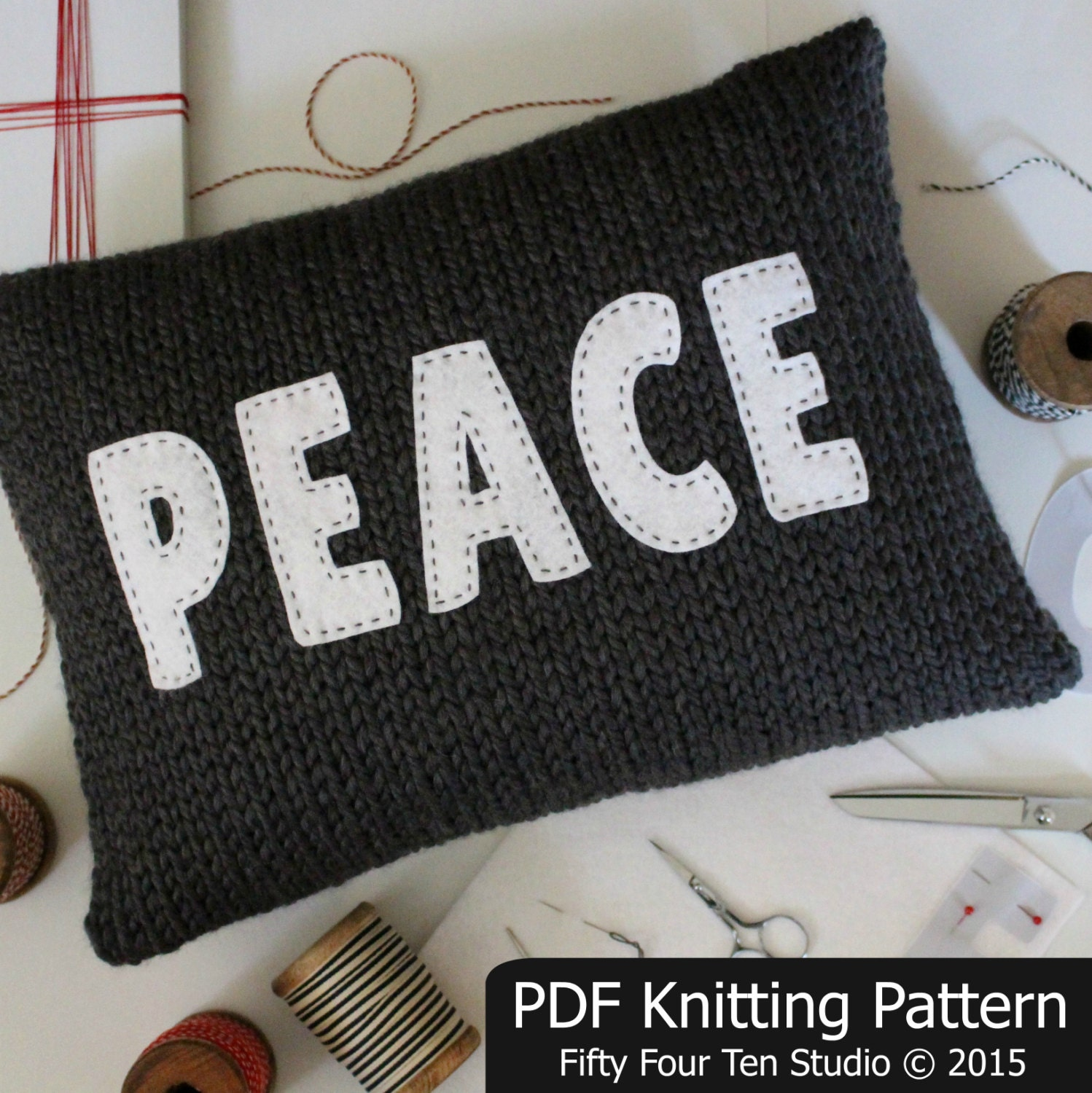 Pillow KNITTING PATTERN / Peace / Love / Home / Cushion / Felt Applique / Kni...