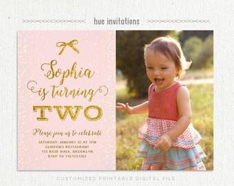 Pink and gold 2nd birthday girl invitation photo card blush girls 2nd birthday party invitations printable pink gold second birthday photo invitation card blush stopboris Choice Image