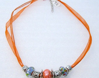 876 - NEW Orange Beaded Necklace