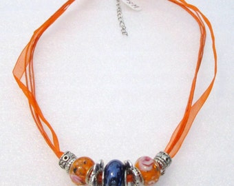 879 - NEW Orange Beaded Necklace