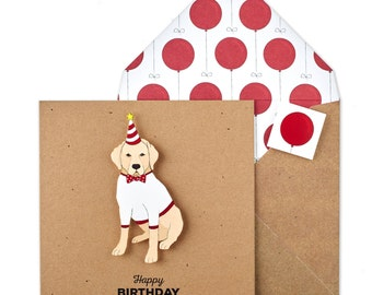 Labrador Birthday Card | Personalised Gift | 3D Card with Envelope and Envelope Seal
