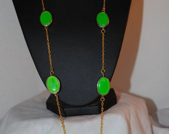 Recycled - long- opera length- vintage beads-green- gold -chain