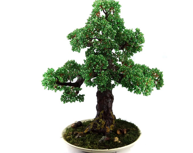 Beaded artificial wire oak tree - miniature tree - beaded autumn - bonsai tree - wire tree sculpture - woody plant - copper tree of life