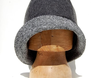 Art deco fashion designer hat for women| ZUTmanon 1920s inspired wool cloche hat in Italian tweed and grey melton