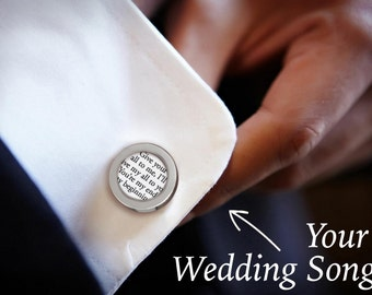 Personalized Wedding Cufflinks / Groom Cufflinks / Custom Cufflinks with your Wedding Song Lyrics / Groom Gift / Gift for Husband