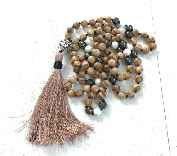108 Bead Agarwood Mala, Fragrant Mala Beads, Knotted Mala Necklace, Meditation Necklace, Natural Healing Mala Beads, Tassel Mala Beads