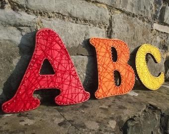 laser cut wooden letters string art