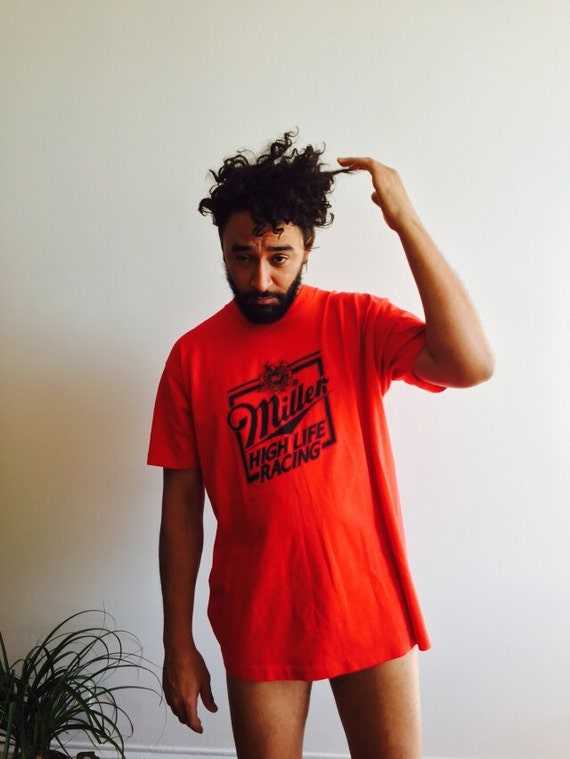 Vintage Red Miller High Life Beer T Shirt Mens By Shopkingdude