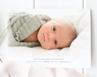 Baby Girl Welcome Birth Announcement | Photo Birth Announcement Card