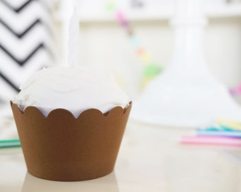 DARK BROWN Cupcake Wrappers - Set of 24