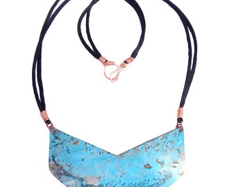 Copper Patina Shield Necklace (N61)
