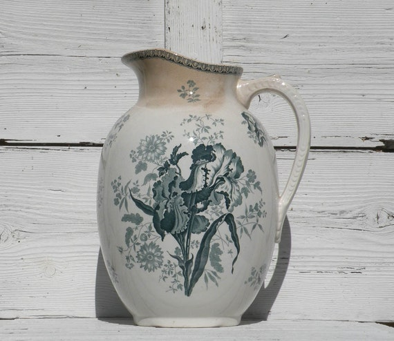 LARGE French antique ironstone transferware jug pitcher, cottage chic, country home, jug, pitcher, bathroom pitcher, romantic french, Iris