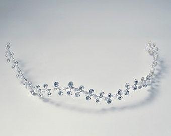Bridal rhinestone hair vine,Bridal headdress,Wedding rhinestone hairpiece,Wedding sparkly headpiece,Pearl & crystal bridal hairvine,headband