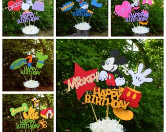 Mickey Mouse Clubhouse Set of 6 Birthday Table Centerpieces, Mickey, Minnie, Donald, Daisy, Goofy and Pluto Decorations