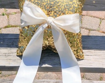 Wedding- Wedding Ring Bearer Pillow-Gold Sequin ivory Bow-Ring Pillow, Gold Ring Bearer Pillow, Wedding Pillow, Wedding Ideas